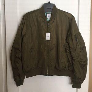 Olive gap bomber jacket  turquoise satin int. NWT